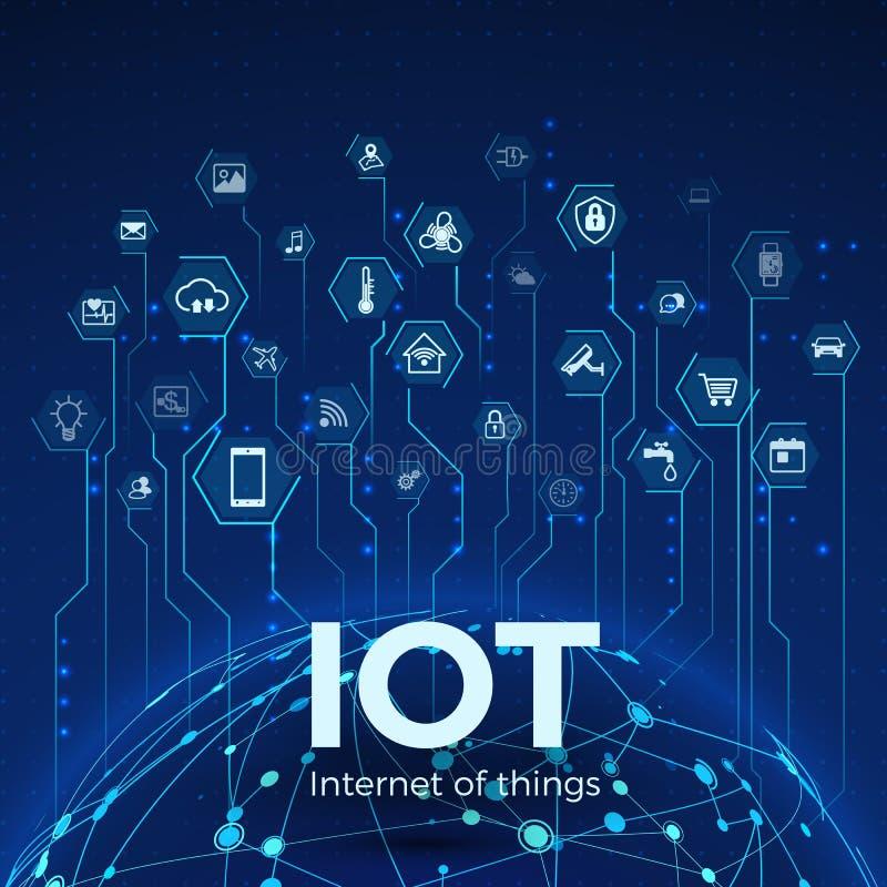 Internet rzeczy IOT ikon pojęcie Globalnej sieci zwi?zek Monitorowanie i kontrola m?drze systemy r?wnie? zwr?ci? corel ilustracji royalty ilustracja