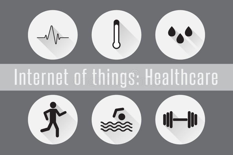 Internet rzeczy, IoT- opieka zdrowotna Set 6 płaskich ikon również zwrócić corel ilustracji wektora ilustracja wektor