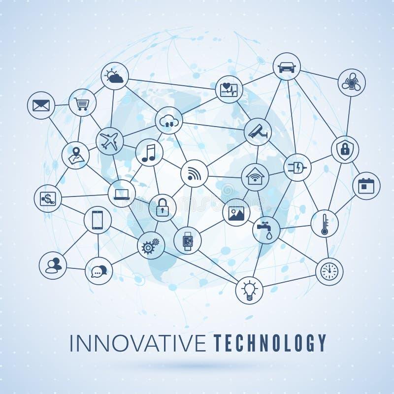 Internet rzeczy IOT poj?cie Globalnej sieci zwi?zek Monitorowanie i kontrola systemów mądrze ikony na kuli ziemskiej kartografuje ilustracja wektor