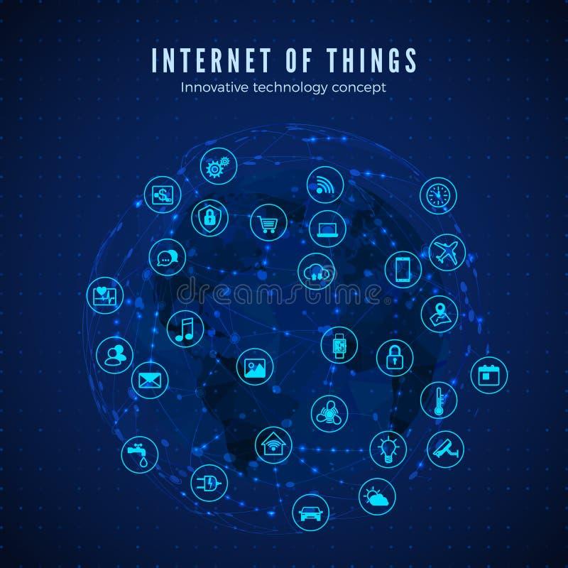 Internet rzeczy IOT poj?cie Globalnej sieci zwi?zek Monitorowanie i kontrola systemów mądrze ikony na globalnej sieci i mapie royalty ilustracja