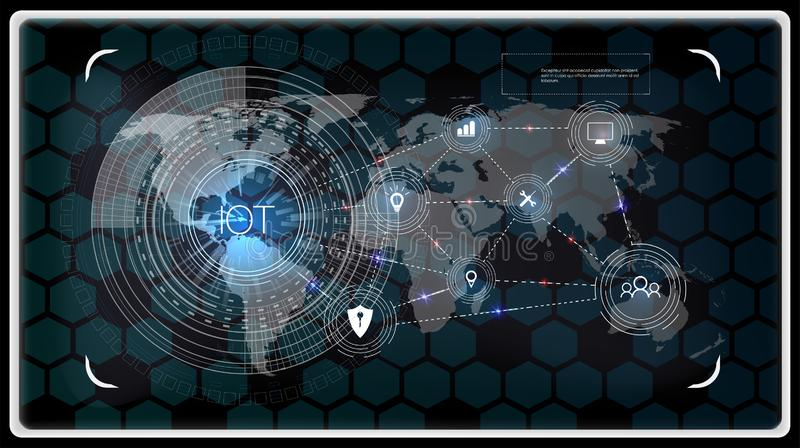 Internet rzeczy IOT, przyrząda i łączliwość pojęcia na sieci, obłoczna cyfrowego obwodu deska nad planeta ilustracji
