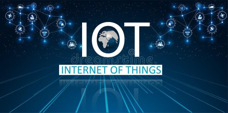 Internet rzeczy IOT, przyrząda i łączliwość pojęcia na sieci, chmura przy centrum ilustracja wektor