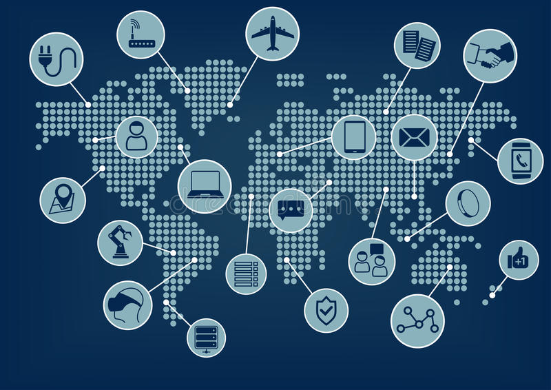 Internet rzeczy kulą ziemską i światową mapą (IoT słowo i ikony z) ilustracji