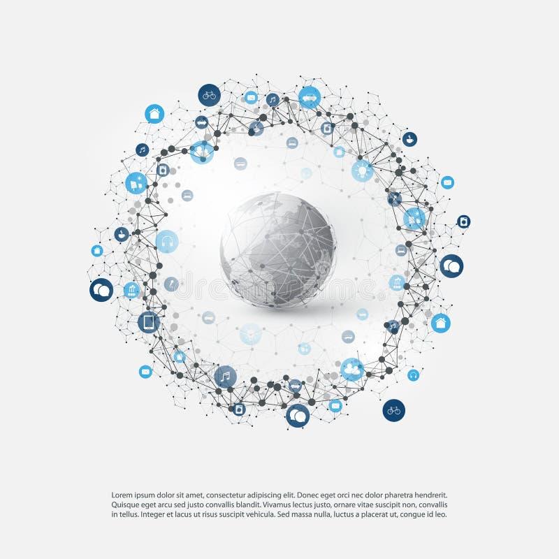 Internet rzeczy lub Obłoczny Oblicza projekta pojęcie z ikonami - Cyfrowej sieci związki, technologii tło