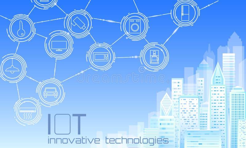 Internet rzeczy miasta 3D niska poli- mądrze druciana siatka Inteligentny budynek automatyzacji IOT pojęcie Nowożytny bezprzewodo ilustracja wektor