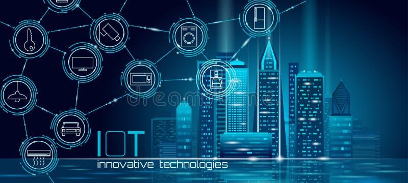 Internet rzeczy miasta 3D niska poli- mądrze druciana siatka Inteligentny budynek automatyzacji IOT pojęcie Nowożytny bezprzewodo royalty ilustracja