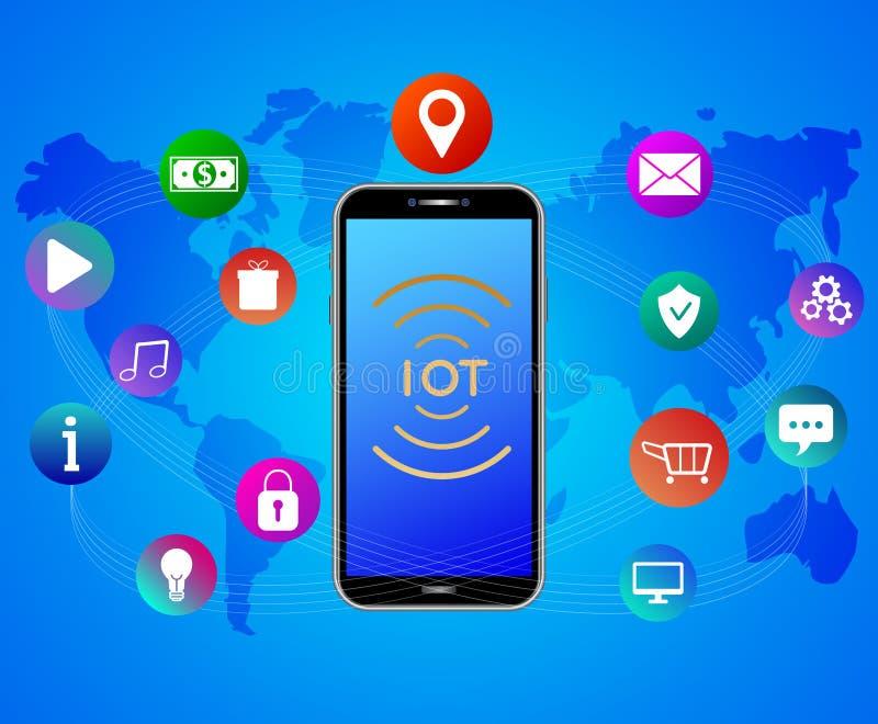 Internet rzeczy poj?cie IOT sieci sztandar Obłoczna app technologia Smartphone z kolorowymi mobilnymi app ikonami ilustracja wektor