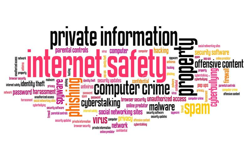 Internet safety. Issues and concepts word cloud illustration. Word collage concept stock illustration