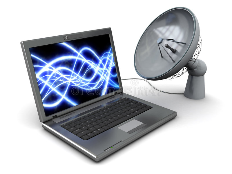 Internet satélite ilustração royalty free