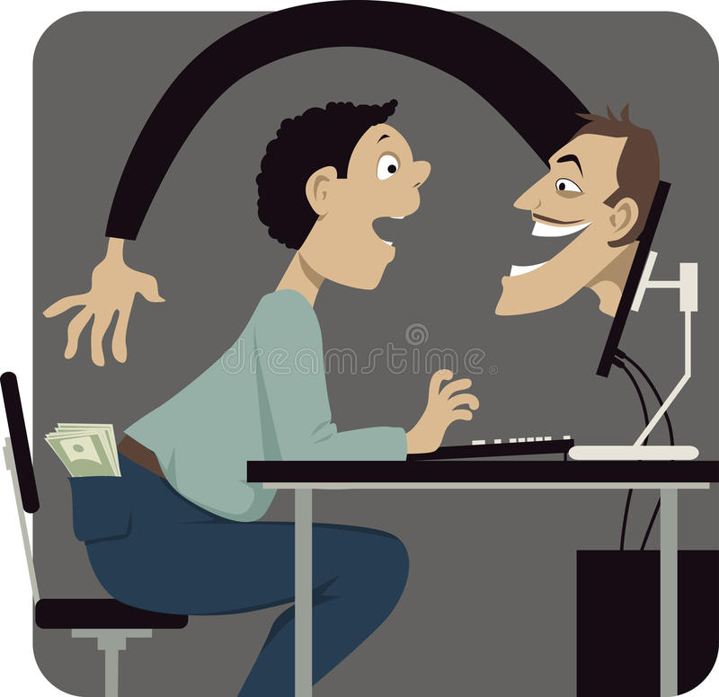 Internet scams. Online scammer reaching to steal money out of a pocket of a naive internet user, vector illustration, EPS 8 vector illustration