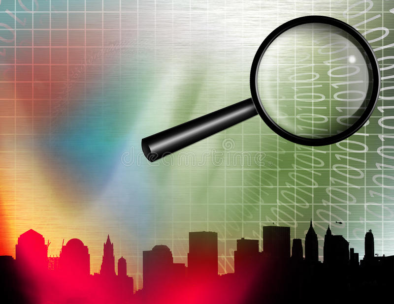 Internet Search. With city and magnify glass vector illustration