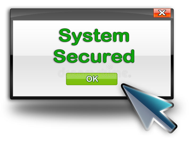 Internet security. System secured or internet security concept. dialog box with green system secured with blue mouse pointer vector illustration