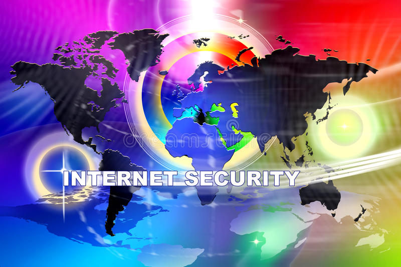 Internet Security. An image for the concept of Worldwide network Internet Security. This image shows a background the world and circle effects with the words vector illustration