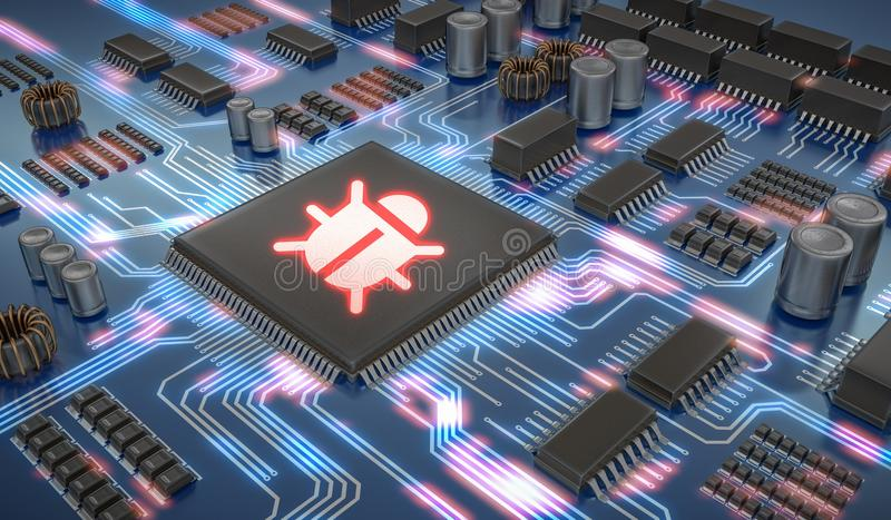 Internet security and anti virus protection concept. Malware or virus inside microchip on electronic circuit. vector illustration