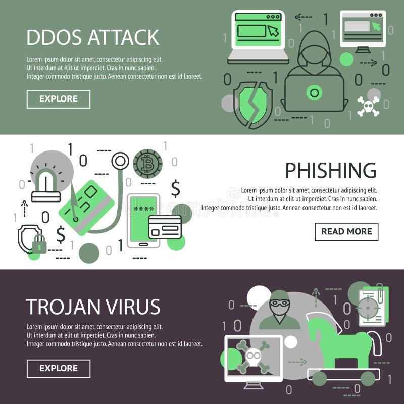Internet Security Banner Set. Three horizontal internet security banner set with descriptions of ddos attack phishing trojan virus vector illustration stock illustration