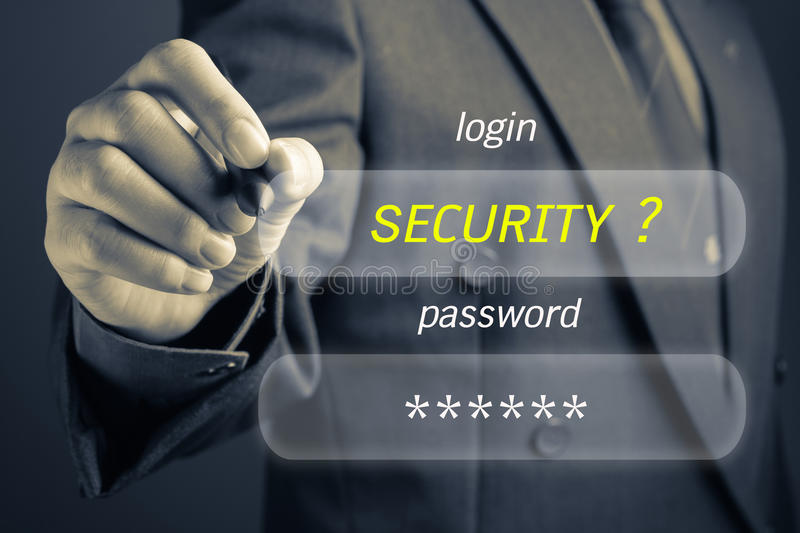 Internet Security. Businessman with Internet Security concept, log in and password button on screen