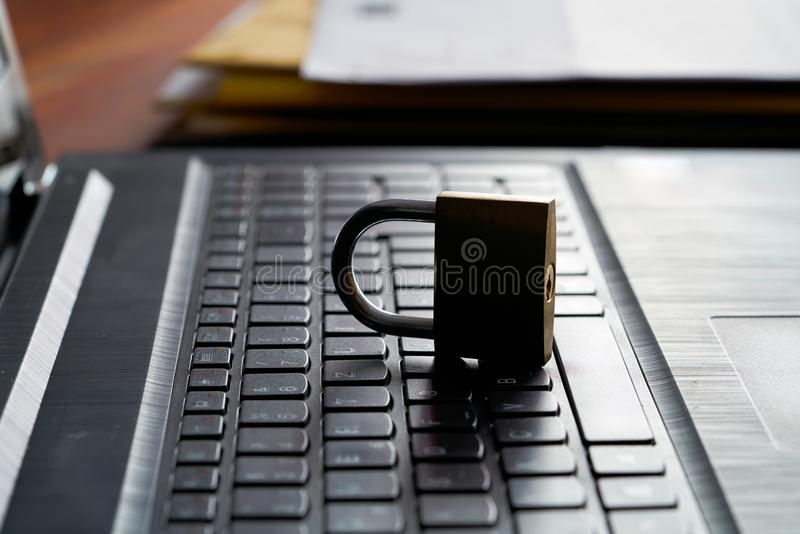 Internet security. Computer keyboard and padlock as a symbol of Internet security royalty free stock images