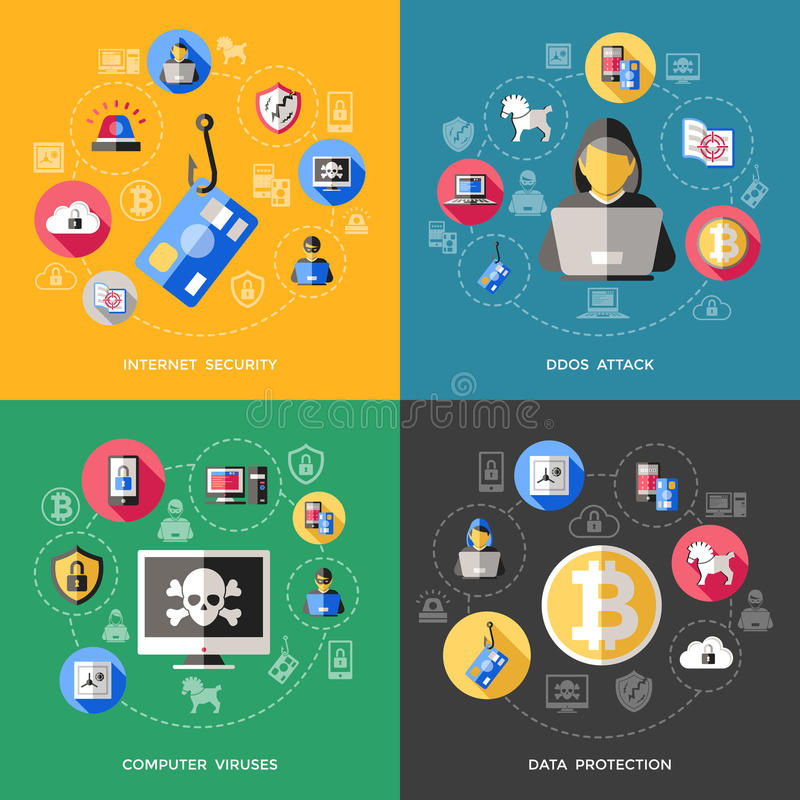 Internet Security Concept. With attack of computer viruses data protection phishing spam spy threat vector illustration royalty free illustration