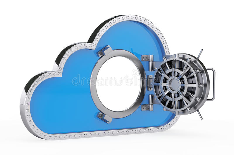 Internet Security Concept. 3d Cloud with Safe Door. On a white background vector illustration