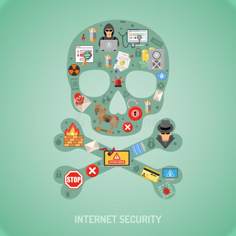Internet Security. Concept with Flat Icon Set for Flyer, Poster, Web Site, Printing Advertising Like Hacker, Virus, Spam and Thief vector illustration