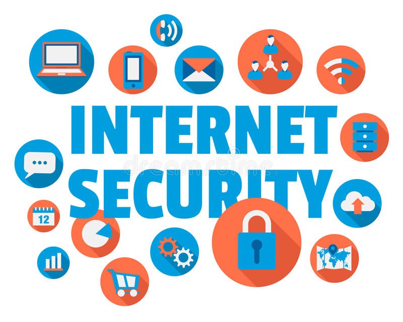 Internet Security. Concept illustration with icons and text stock illustration