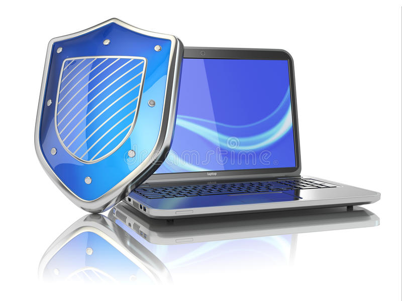 Internet Security Concept. Laptop And Shield. Stock Photos