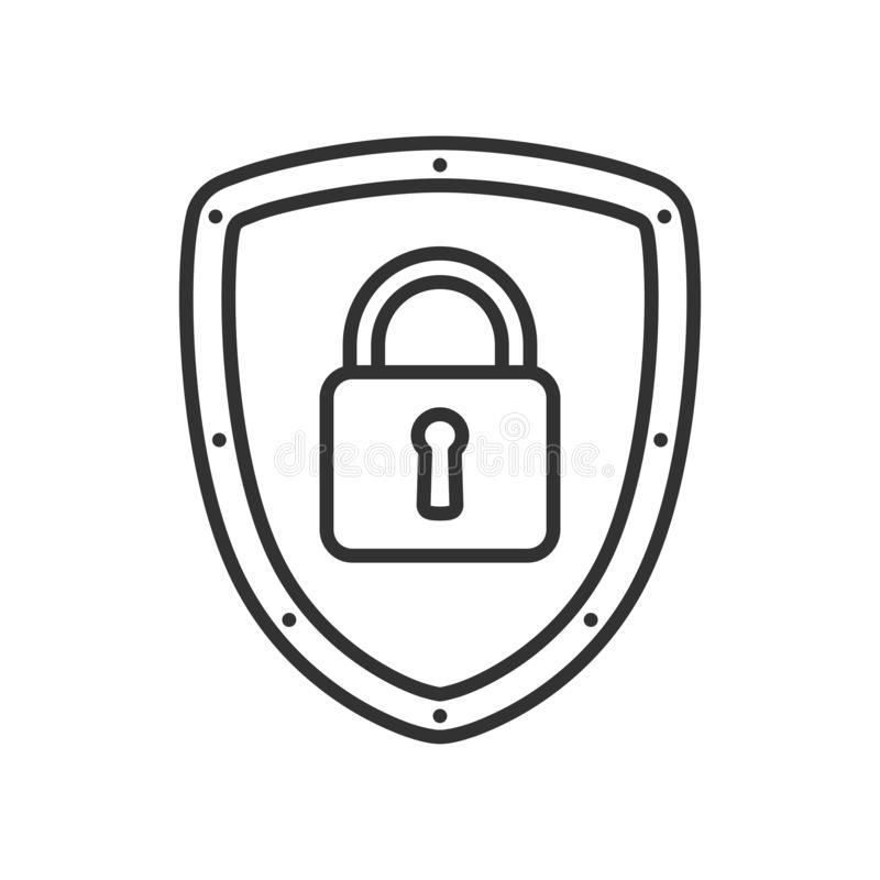 Internet Security Concept Outline Flat Icon stock illustration