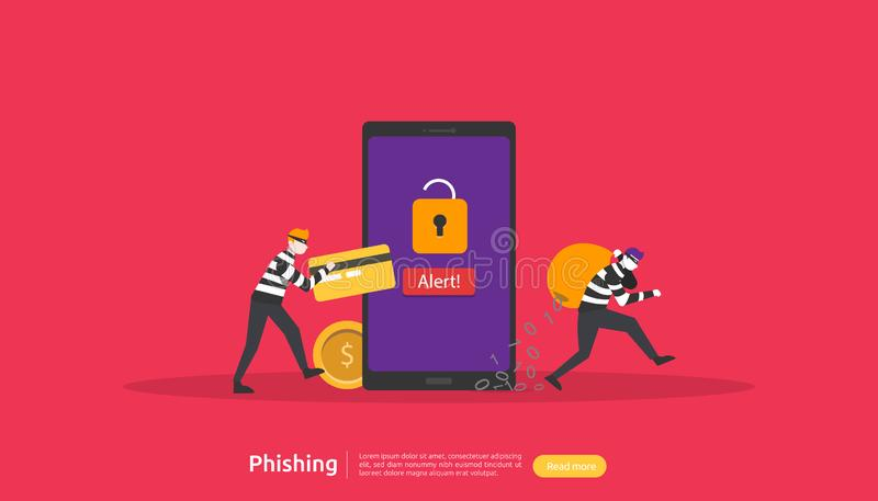 internet security concept with tiny people character. password phishing attack. stealing personal data. web landing page, banner, vector illustration