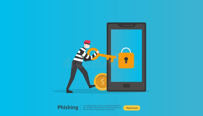 internet security concept with tiny people character. password phishing attack. stealing personal data. web landing page, banner, stock illustration