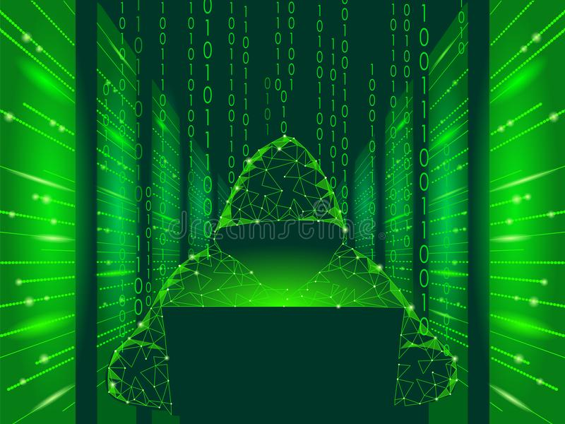 Internet security cyber attack business concept low poly. Anonymous hacker at the laptop computer blue finance danger. Internet security cyber attack business stock illustration