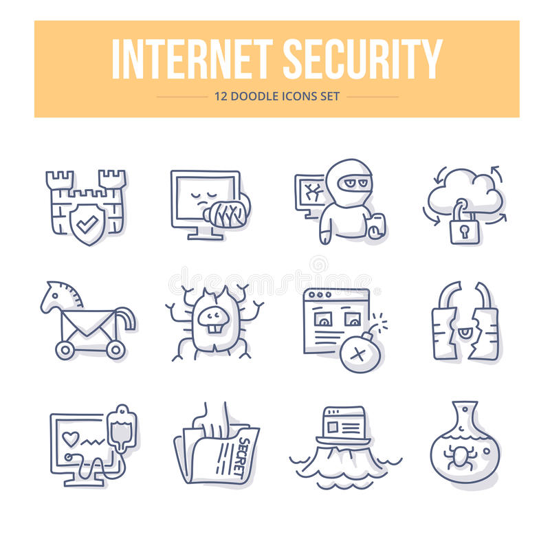 Internet Security Doodle Icons. Doodle line icons of internet security, data protection, secure data exchange, safety data on web. Vector illustration concepts stock illustration