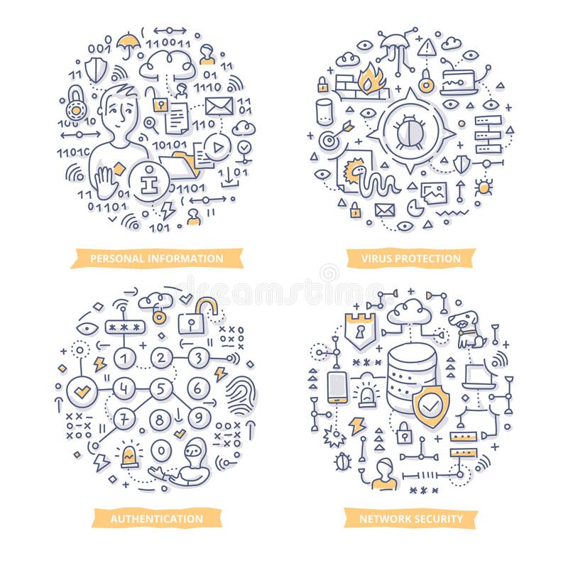 Internet Security Doodle Illustrations. Doodle concepts of internet and network security technologies, protecting personal information from hacking, viruses stock illustration