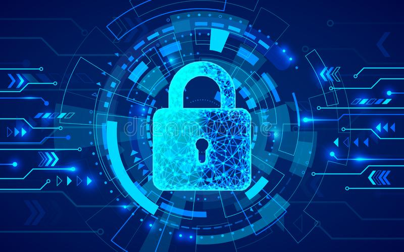 Internet security. Firewall or other software or network security. Cyber data defense or information protection concept stock illustration