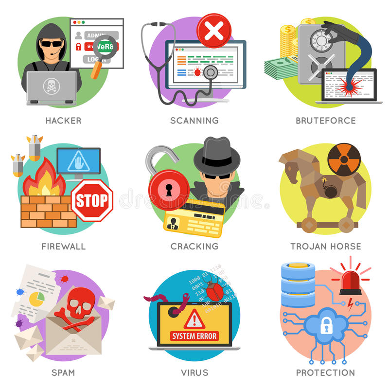 Viral Times Web: Internet Security Flat Icon Set Stock Vector