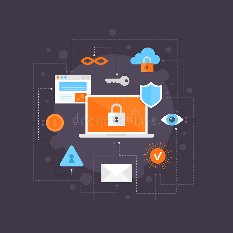 Internet security flat icons set, infographic composition. royalty free illustration