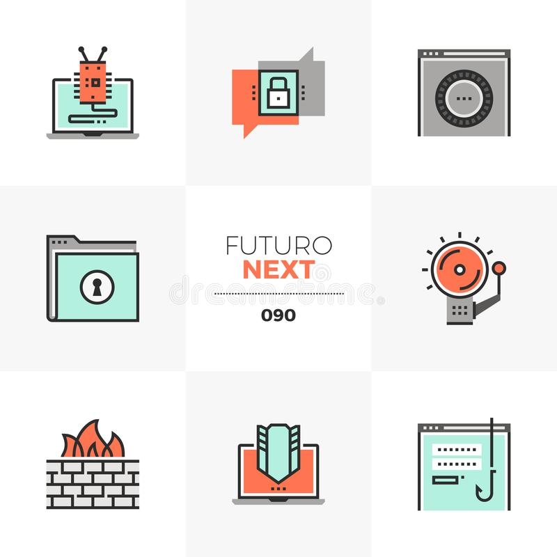 Internet Security Futuro Next Icons. Modern flat icons set of internet security, computer network protection. Unique color flat graphics elements with stroke royalty free illustration