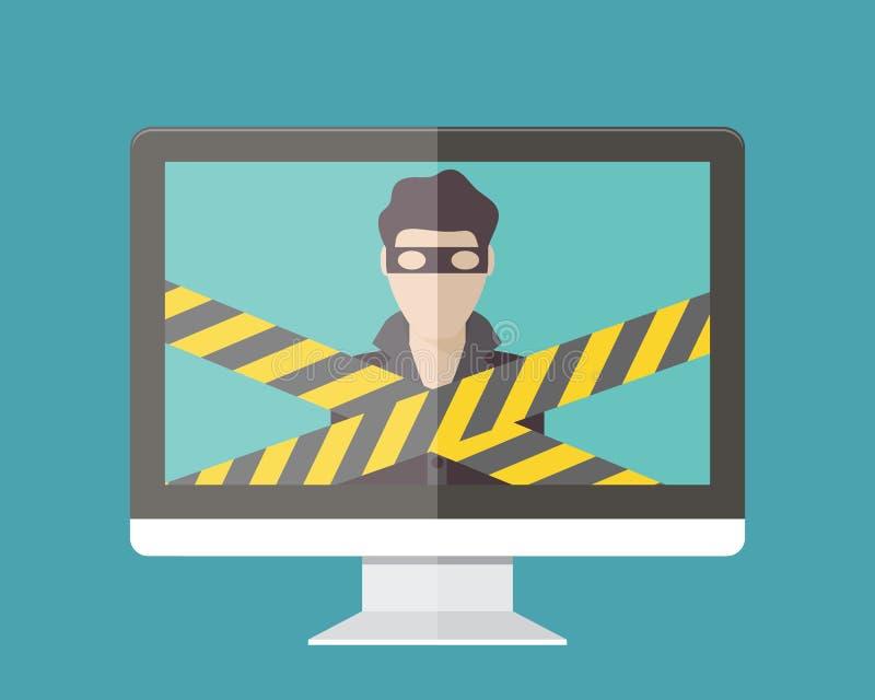 Internet security, hacker. Flat design vector illustration royalty free illustration