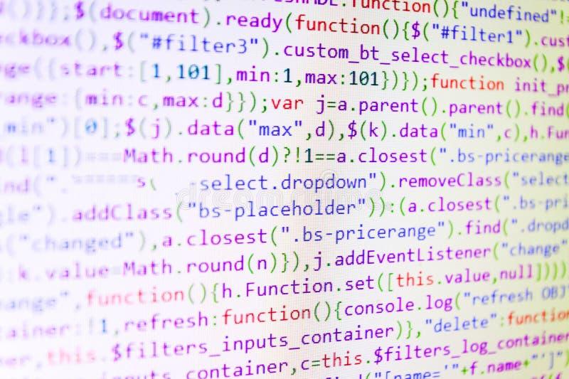Internet security hacker prevention. Screen of web developing javascript code. Big data database app. stock photo