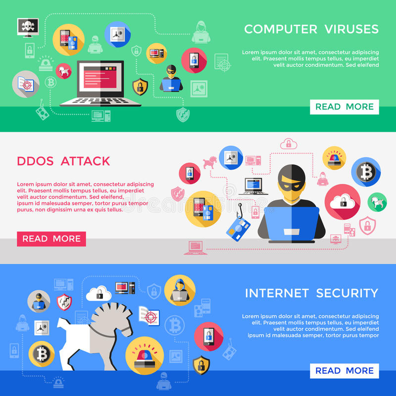 Internet Security Horizontal Banners Set. With computer viruses spam attack hacker files protection isolated vector illustration vector illustration