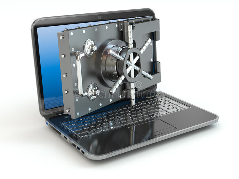 Internet security.Laptop and opening safe deposit box's door. stock photography