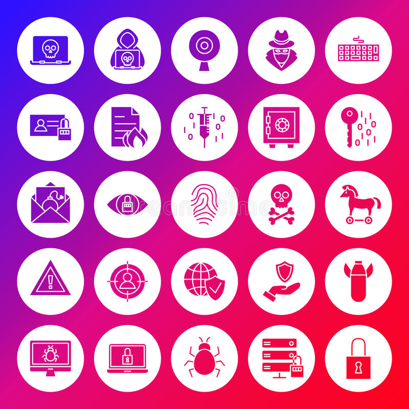 Internet Security Solid Circle Icons vector illustration