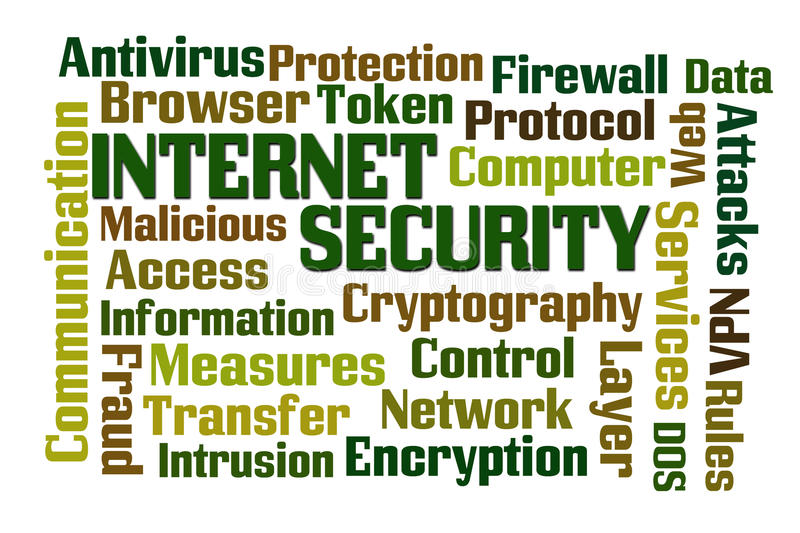 Internet Security. Word cloud on white background vector illustration