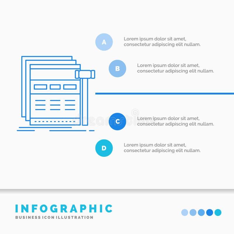 Internet, Seite, Netz, Webseite, wireframe Infographics-Schablone f?r Website und Darstellung Linie infographic Art der blauen Ik stock abbildung