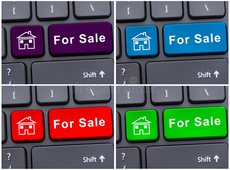 Internet selling property with keyboard button stock image