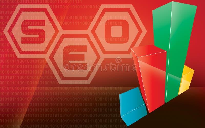 Internet seo 3d chart. Illustration with shiny web 2.0 red theme stock illustration