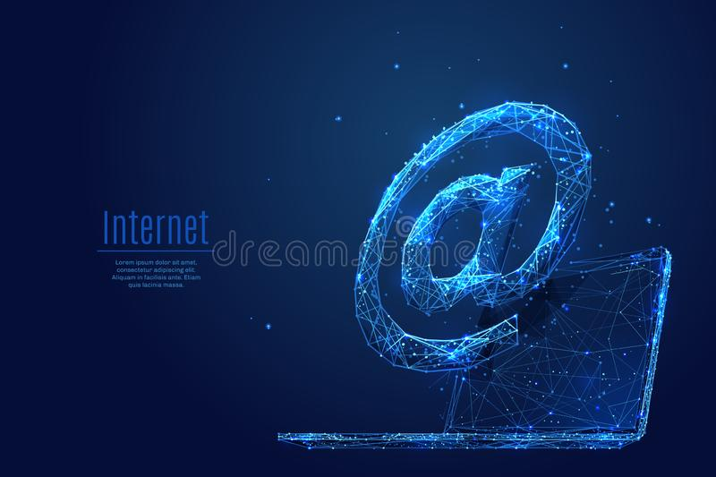 Internet Service low poly blue. An AT or mail symbol on a laptop background. Abstract Low poly wireframe vector illustration. Polygonal isolated internet concept stock illustration