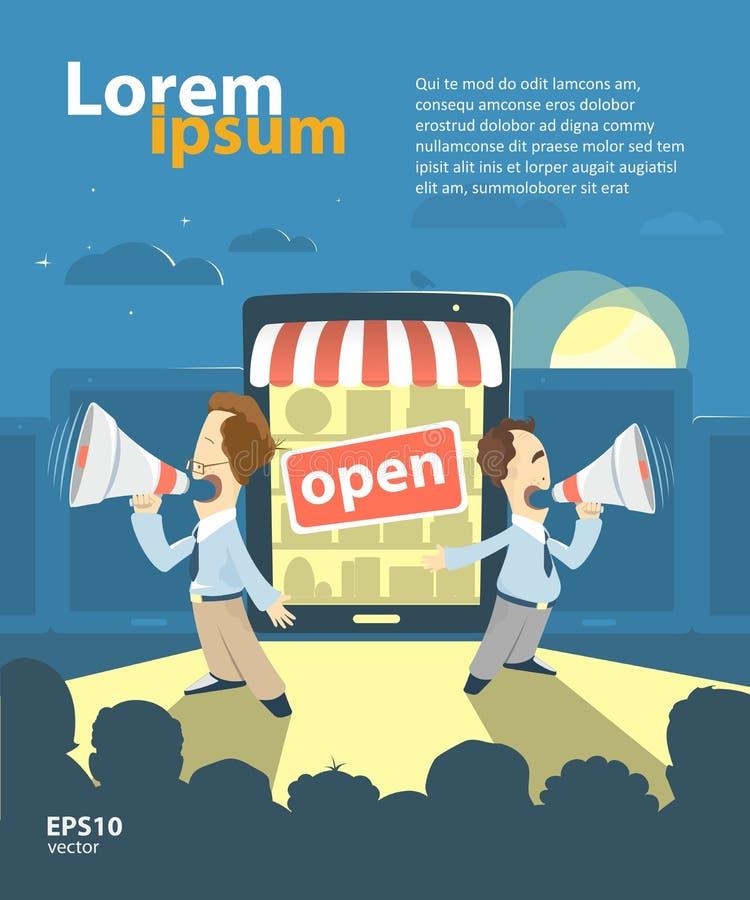 Internet shop promotion. E-shop, online store, internet shop promotion advertisement presentation illustration. Grand opening vector illustration