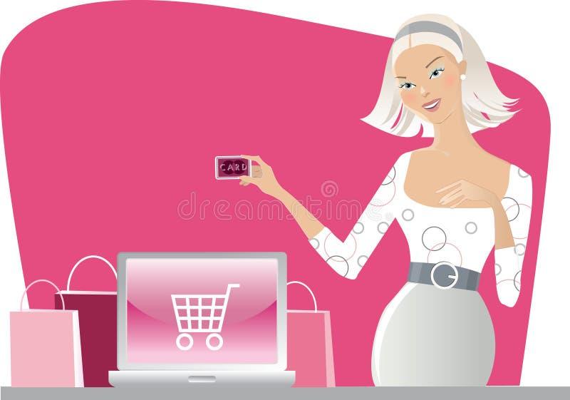 Internet shopping. Vector illustration of a woman shopping on internet royalty free illustration