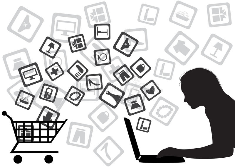 Internet shopping. The girl buys goods through Internet royalty free illustration