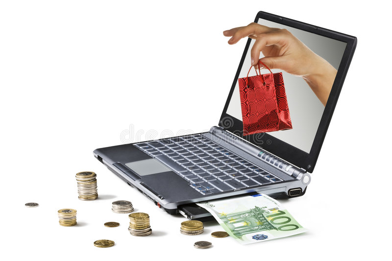 Internet Shopping. Business online. Laptop on white background